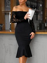 Elegant Black Lace Dress Women Sexy Off Shoulder Long Sleeve Skinny Midi Vintage Mermaid Autumn Party Vestido