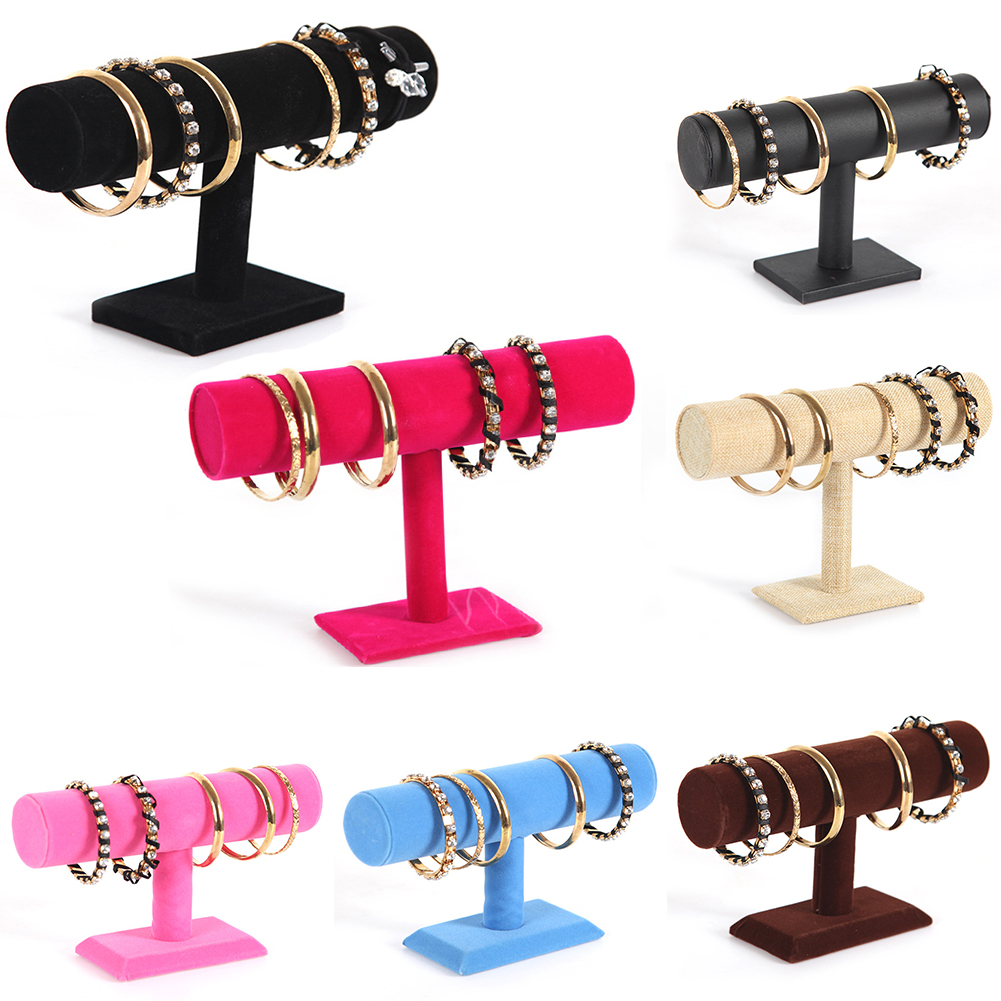 Women Portable Velvet Bracelet Bangle Necklace Display Stand Holder Watch Jewelry Organizer T-Bar Rack