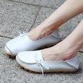 Llegan nuevos Pisos Zapatos de Las Mujeres Cuatro Temporadas 2017 Zapatos de Las Mujeres Nudo Plano Talón plano Suela Músculo de la Vaca Mujeres del Cuero Genuino zapatos
