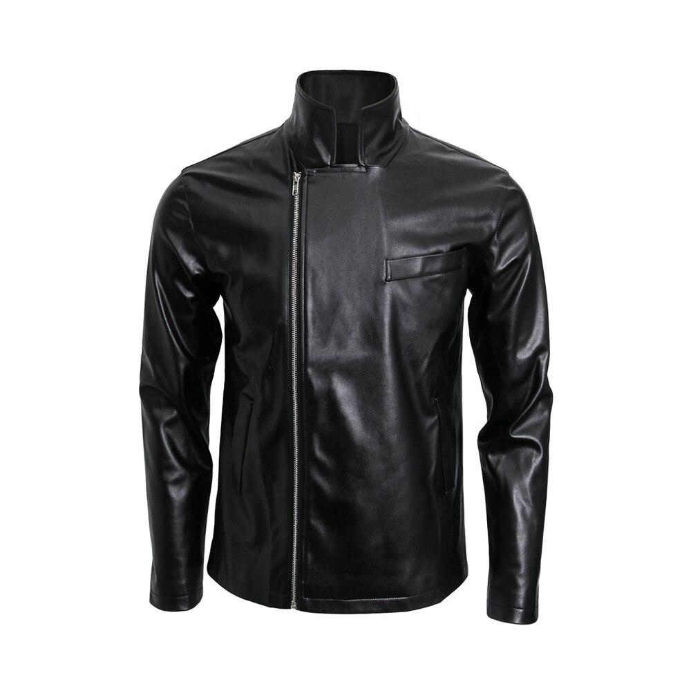 Takerlama Adult 50s Grease T BIRDS Jacket Vintage Black Faux Leather Moto Biker Short Coat Jacket