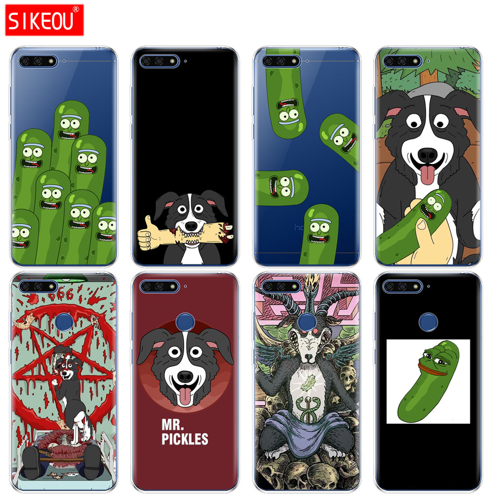 Silicone Cover Phone Case For Huawei Honor 7A PRO 7C Y5 Y6 Y7 Y9 2017 2018 Prime mr pickles cucumber rick meme image