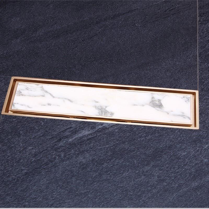 Or Pur de cuivre en laiton 300*83mm salle de bains Rectangle Linéaire Invisible Drain Douche Drain de Plancher Passoire égouttoir avec Insert De Tuiles grille