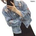 Nuevo 2016 Retro Super Cool Chaqueta de Mezclilla Mujeres Flores Bordadas Chaqueta de Jean Chaquetas Femeninas Abrigo de Manga Larga Floja de Gran Tamaño S ~ L