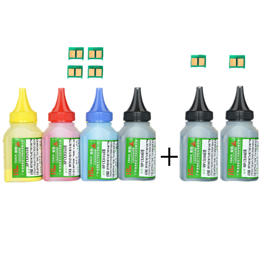 6 Color Toner Powder + 6chip CF350A 130A CF350 Toner Cartridge For HP Color LaserJet Pro MFP M176n MFP M177fw Laser  Printer