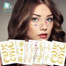 6 шт тату на лицо глаза звезда луна брендовые Блестящие модные