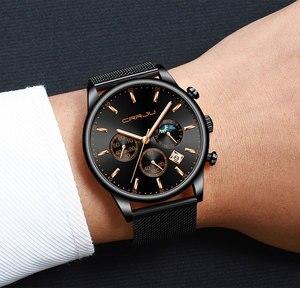 Image 5 - CRRJU relojes para hombre, marca superior, impermeable, negocios, abertura para fecha, reloj de pulsera, correa de malla, reloj de cuarzo informal