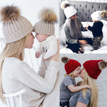 Autumn Mom Mother+Baby Knit Pom Bobble Hat Kids Girls Boys Winter Warm Beanie Caps NEW Soft Solid Wool Cap Baby's Fashion цена в Москве и Питере