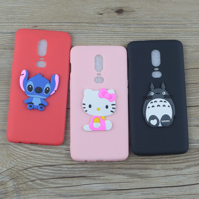 super popular ae9f0 41723 US $1.48 5% OFF|Cute Cartoon Silicone Case for OnePlus 6 A6000 A6003 Cases  Stitch Hello Kitty Minnie Cat Soft TPU Phone Cover-in Fitted Cases from ...