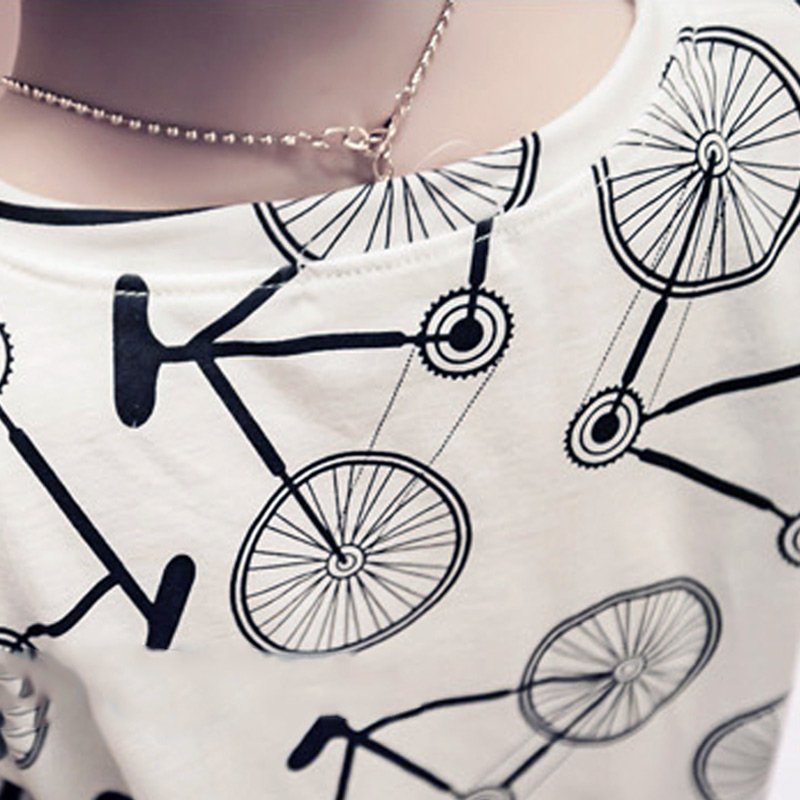 Summer Women Sexy T-shirt Short Sleeve Bicycles Printed Loose Casual Ladies Girls T-shirts NGD88