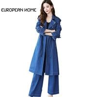 New 2019 Women Spring Autumn 2 Piece Set Plus Size Clothes Korean Fashion Striped Denim Two Piece Set Top And Pants Female
