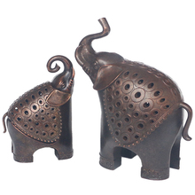 Antique copper Alloy Mother And Child Incense Censer Figurines Miniature Elephant Burner Ornament Decoration Accessories