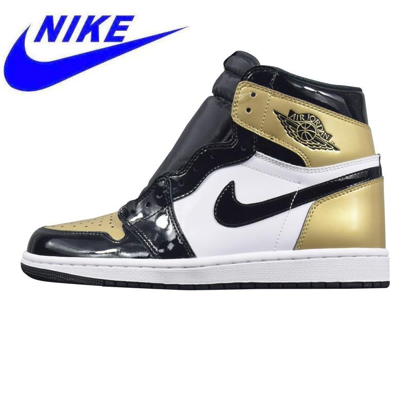 buy popular 15c2e 8aa46 US $299.0  Original Nike Air Jordan 1 OG Black Toe Men Walking Shoes, Gold  & Black, Breathable Lightweight Wear resistant 861428 007-in Walking Shoes  ...