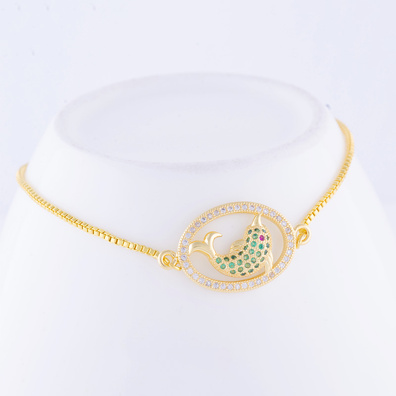 Juya New Design Luxury Green Crystals Cute Dolphin Charms Adjustable Chains Bracelets For Women Ocean Style Jewelry