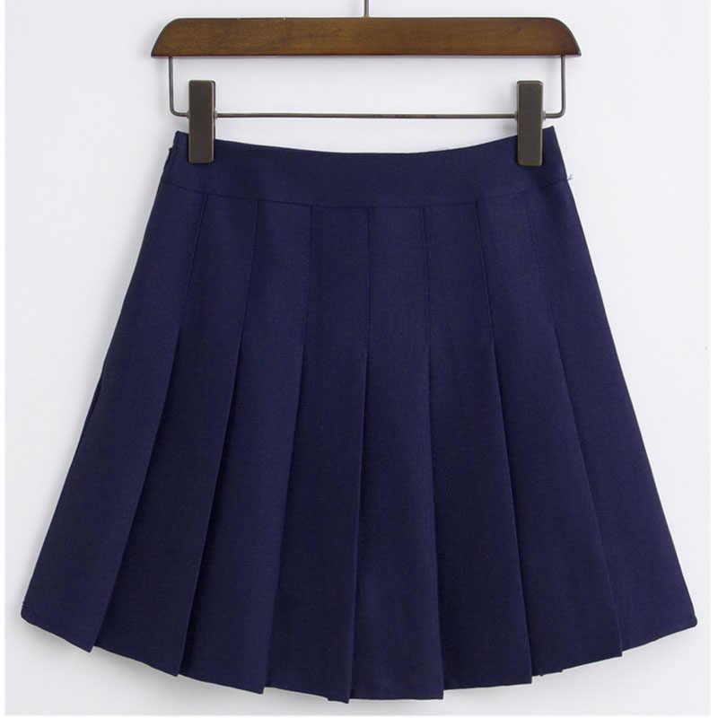 Kobiety dziewczyna plisowane Skorts spódnica do tenisa Zip joga Badminton Sport uniform dla drużyny Student krótka sukienka z wewnętrznymi spodenkami wysoka talia