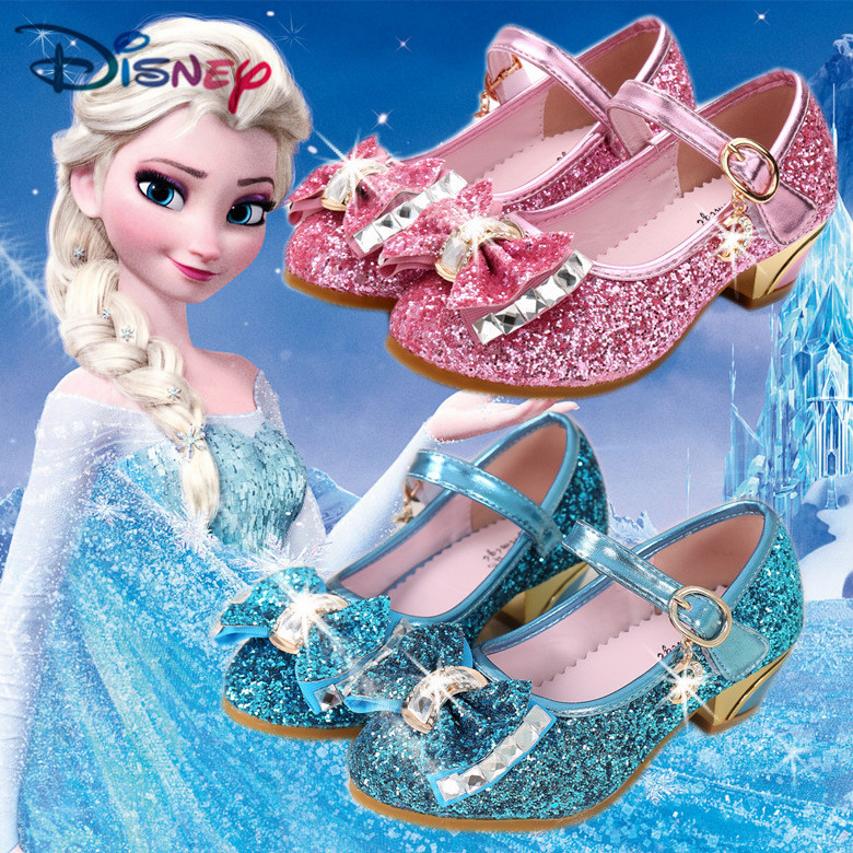 Disney Frozen Elsa Girl Sandals With Sequins Children's Summer Shoes With PU Kid Single Shoes Sandalia Infantil Garden Shoes