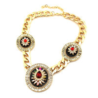 Big Brand Accessories Fashion Crystal Rhinestone 3 Big Shield Pendants Alloy Chokers Women Vintage Statement Necklaces N3307