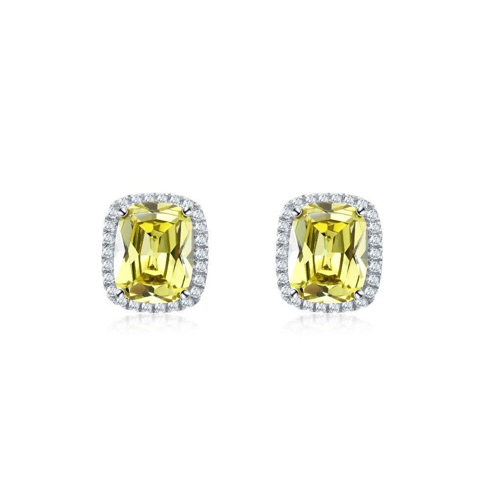 Nouvelle boucle d'oreille pour femmes 925 en argent Sterling broche jaune Zircon cristaux boucles d'oreilles femme oreille brincos Pend bijoux fins