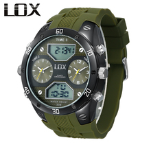 LOX Men Sports 3 Times Analog Digital Watch Dual Display Multifunction Quartz Wristwatches Outdoor Fun Military Montre Homme