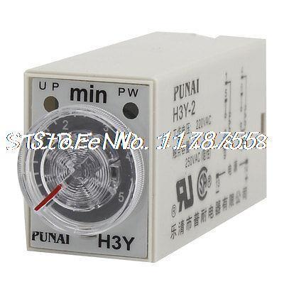 DPDT 8 Pin Connector 5 Minutes H3Y 2 Time Delay Relay AC 220Vin