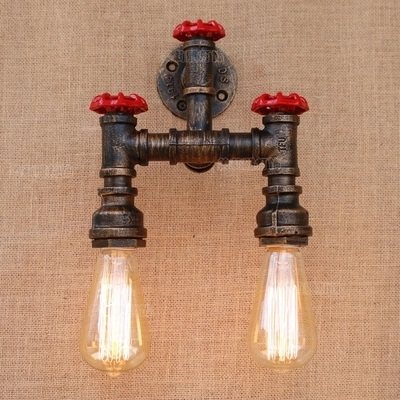 Loft Style Creative Metal Water Pipe Lamp Industrial Vintage Wall Light Fixtures For Home Edison Wall Sconce Lampara Pared america rustic vintage pipe wall lamp in loft industrial style stair light edison wall sconce arandela lampara aplik