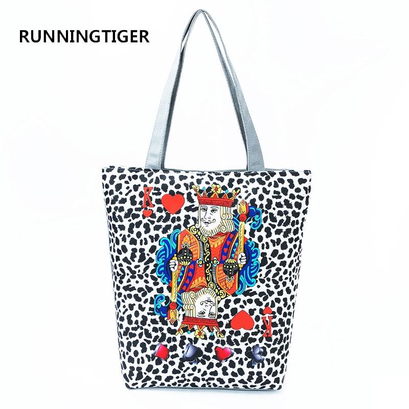 RUNNINGTIGER Fashion Poker King Printed Shoulder Bag Women Leopard Design Tote Handbag For Girls Canvas Summer Beach Bag Lady tote bag