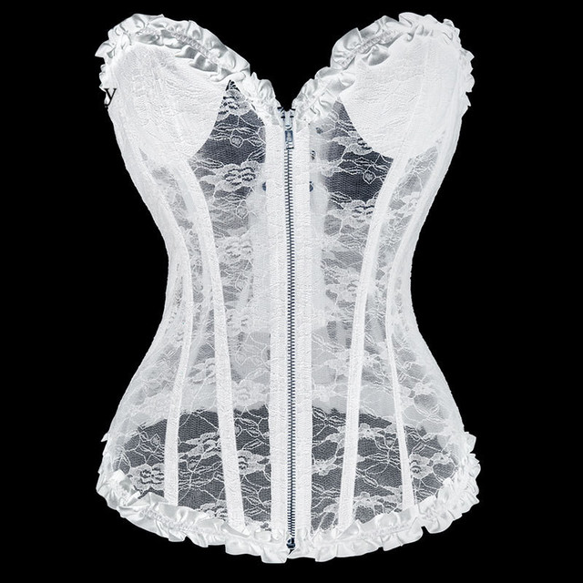 dbff02d250 Corstory White Transparent Floral Lace Zipper Overbust Corset Waist Trainer  Bridal Sexy Night Lingerie Gothic Victorian Bustier