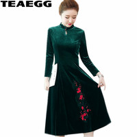 TEAEGG Robe Vintage Long Sleeve Dress Velvet Womens Dresses Large Sizes Elegant Autumn Winter Green Party Dress Plus Size AL1441