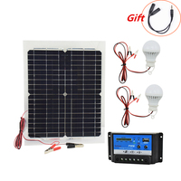 12V 20W Monocrystalline Solar Panel with 10A Charger Controller and 2pcs Led Lamp Rechargeable Battery Charger Solar Cells