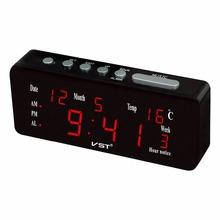 AC power 220V 50HZ digital LED calendar clock with time, date, temperature, alarm function European power plug alarm clock