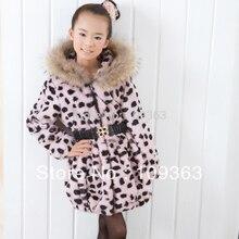 Popular Winter New Child Fur coat,Princess Leopard print Girl's rabbit fur coat hooded fur jacket overcoat Free shippingCFAL309N