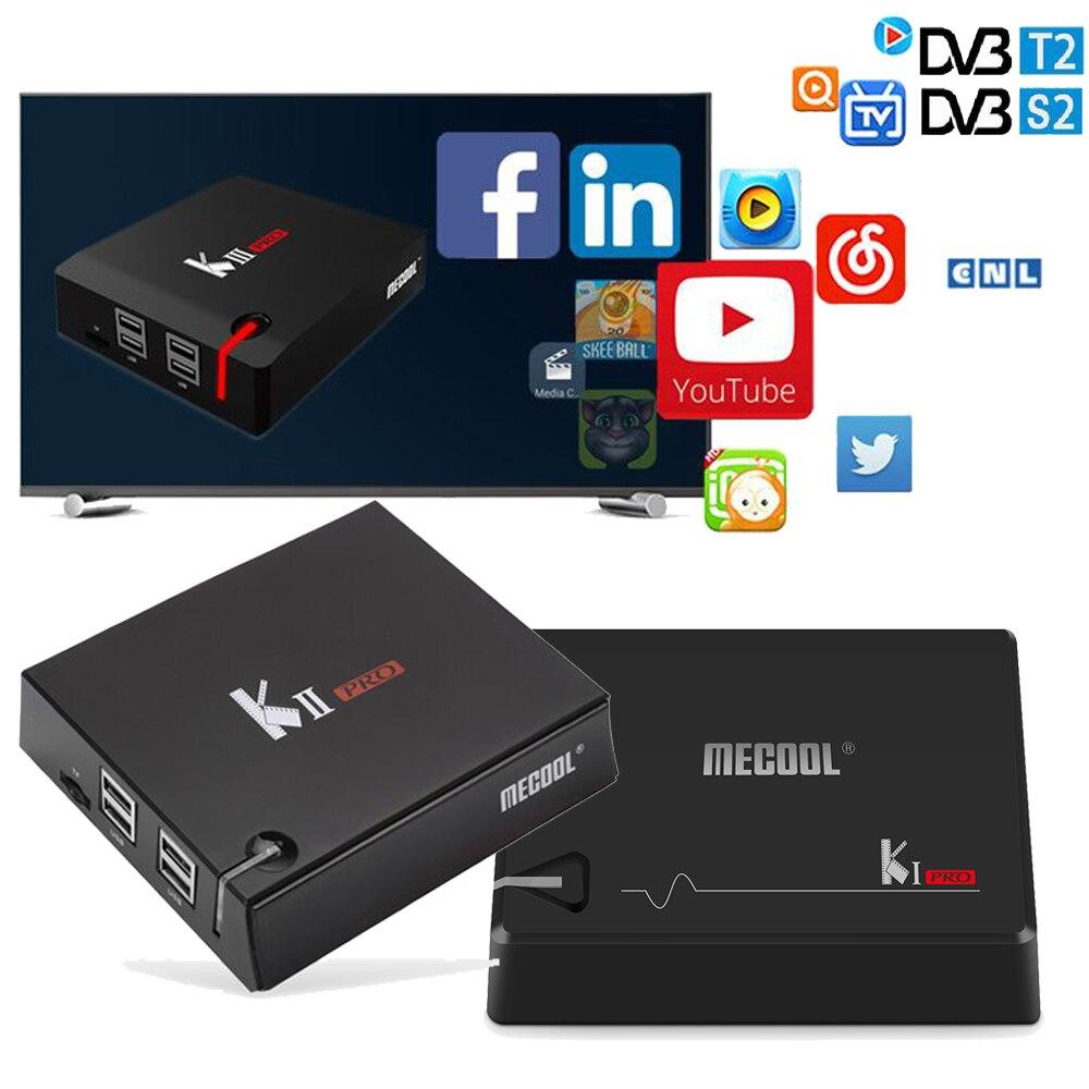 MECOOL K1 PRO TV Boîte KI PRO S2 + T2 DVB Amlogic S905D Quad 2G + 16G DVB-T2 et S2/DVB-T2/DVBS2 Set Top Box + KII KIII PRO Android TV boîte