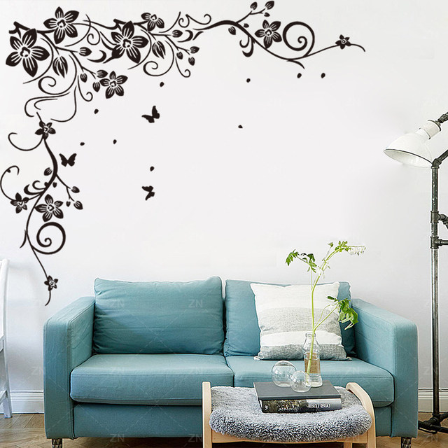 J18 Butterfly Vine Corner Flower Wall Stickers Tree Wall Decals Bedroom  Background Decorative Art Mural Home Decor