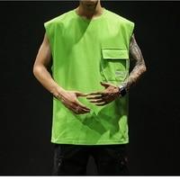 Summer casual fashion men's pockets solid color gym vest bodybuilding clothing fitness men's vest tops