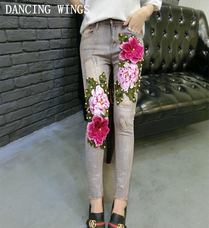 3D Flower Sequin Embroidered Rose Women Jeans 2018 Fashion Beading Stretch Pencil Pants Female Jeans Long Trousers