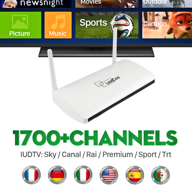 Cheapest Leadcool Tv Box Android 4.4 Iptv Caja Con 1700 + Europa Canales Sky Italia REINO UNIDO Europea Llena de Deportes En Vivo suecia Holanda