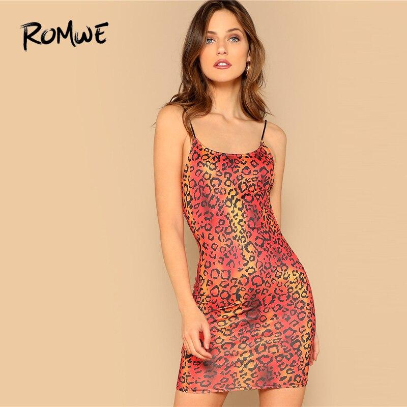 5c1a277894 ROMWE Leopard Print Bodycon Slip Dress 2019 Chic Summer Slim Spaghetti  Strap Bodycon Dress Sexy Sleeveless
