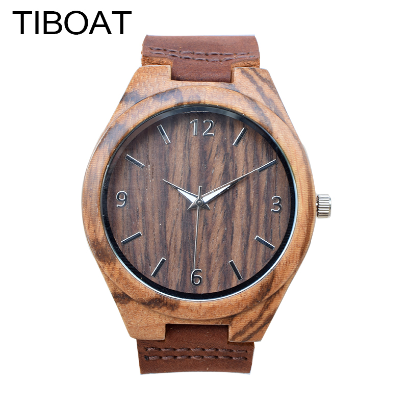 цены  TIBOAT Simple Casual Wooden Watch Natural Handmade Wristwatch Genuine Leatehr Band Strap Quartz-watch Men Women Gift With Box