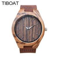 TIBOAT Simple Casual Wooden Watch Natural Handmade Wristwatch Genuine Leatehr Band Strap Quartz Watch Men Women