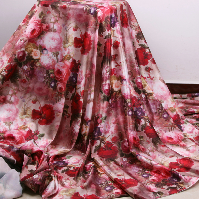 soft polyester satin fabric cloth,rose flowers printed silk stretch fabric tissue,women dress imitate silk tissu au metre