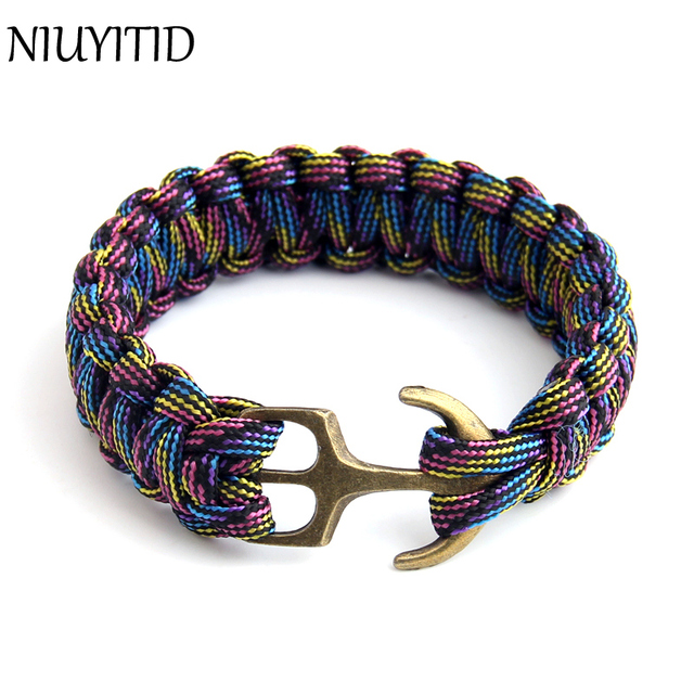 Niuyitid Handmade Anchor Bracelet Men Charm Nautical Survival Rope Chain Paracord Male Outdoor Sport Jewelry