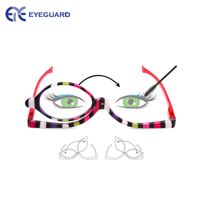 55cfe87e5e0 EYEGUARD Readers 2 Pack Magnifying Makeup Glasses Eye Make Up Spectacles  Flip Down Lens Folding Cosmetic Womens Reading Glasses