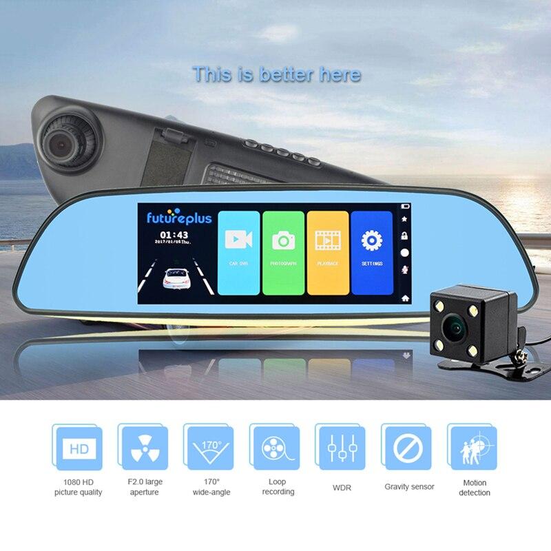 Car DVR Dual Lens Car Camera 1080P Video Recorder Rearview Mirrors Backup Rear View Mirror Night Vision Dash Cam Camcorder