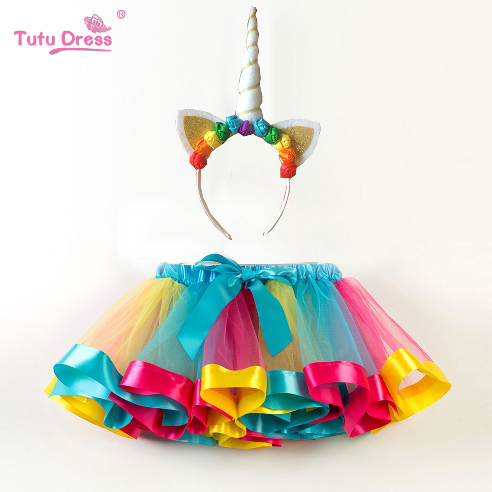 Fashion Sweet Toddler Kids Baby Girls Clothes Tutu Skirt Outfits Unicorn Cute Children Tulle Skirt + headband Rainbow Skirt ywhuansen 2018 new rainbow cotton skirt sequin embroidery baby girl skirt cute rabbit princess kid clothes tutu skirt tulle pink