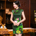 Green New Vintage Chinese Classic Style Women's Mini Cheongsam Satin Qipao Dress Flower Mujer Vestido Size S M L XL XXL 275990