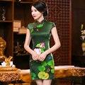 Verde Novo Estilo Chinês Do Vintage Clássico das Mulheres Mini Cheongsam Qipao Cetim mujer dress flor vestido tamanho s m l xl xxl 275990