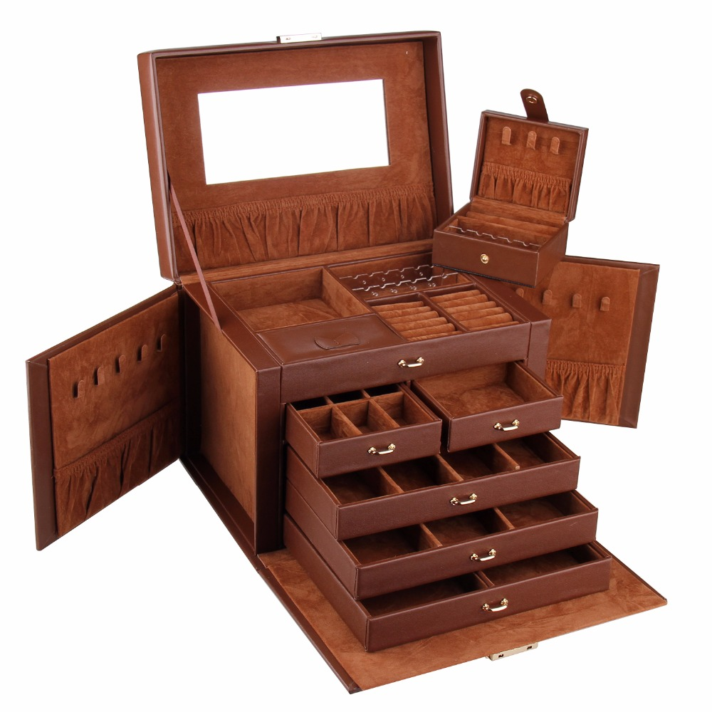 ROWLING Jewelry Display Box For Earrings Necklaces Leather Organza Gift Bags Ring Organizer Cross pattern Holder Boxes Packaging