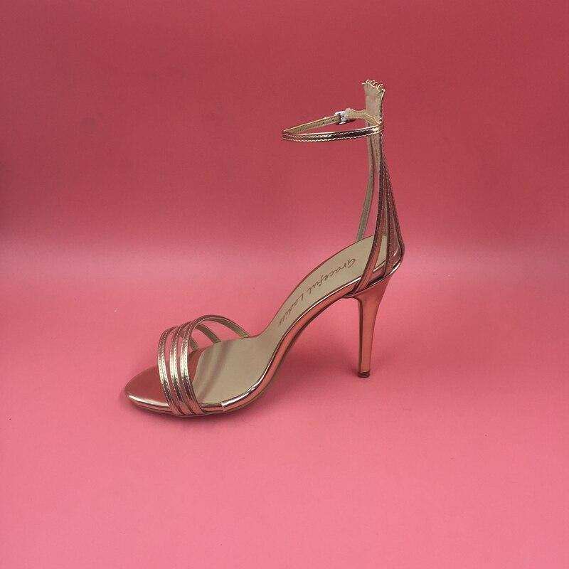 Women Mature Heels Ankle Sandals Heel High Covered Sexy Gold Strap eEIW9HYbD2