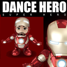 2019 New Dance Iron Man Robot Q Edition Music With Light Super Hero Action Figure Toys Joints Movable Daning kids Gift
