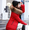 Korean Style New Fashion Women Winter Down jacket Hooded Heavy hair collar Super Warm Medium long Slim Big yards Coat G1791