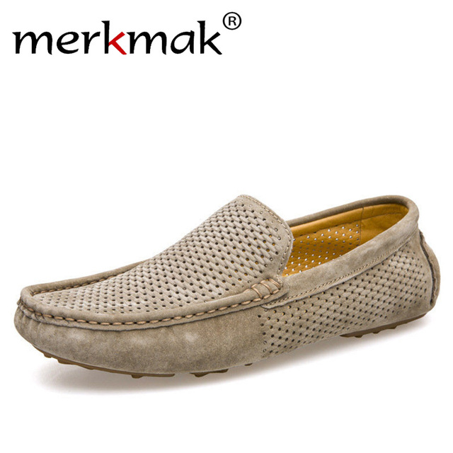 New Men Loafers Genuine Leather Slip On Driving Shoes Soft Moccasins Holes Comfort Light Flats